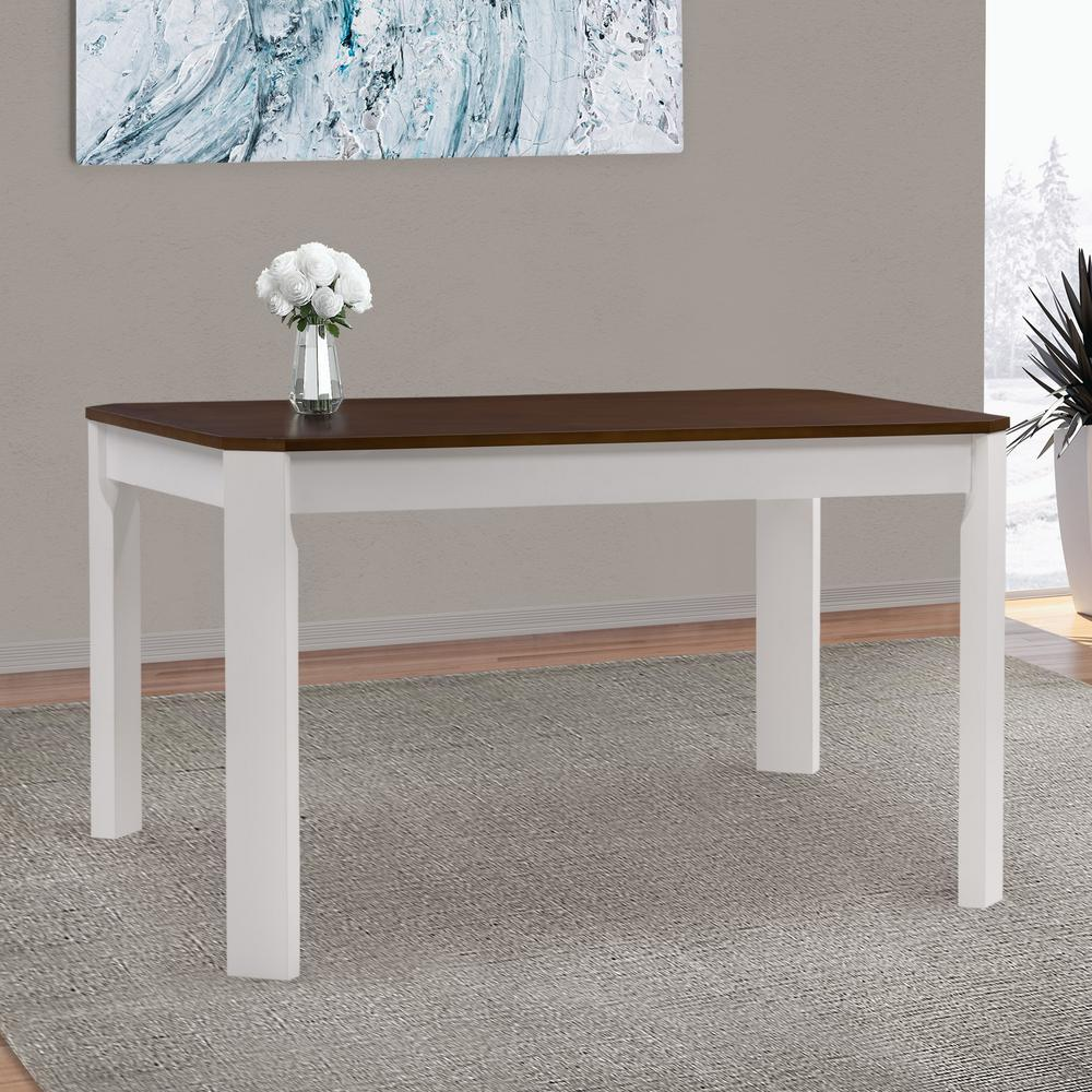 Round Timber Dining Table Corliving Memphis White And Brown Duotone Solid Hardwood Dining