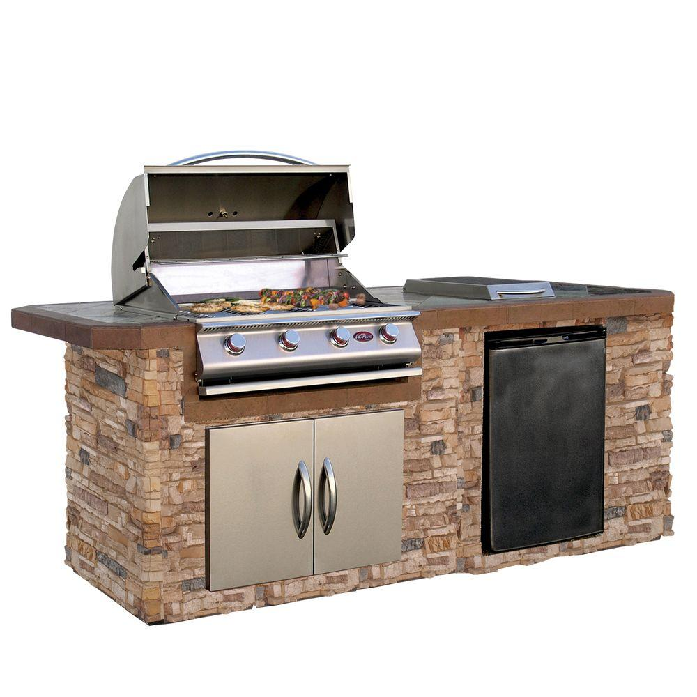 Outdoor Grill Cal Flame 7 Ft Cultured Stone Grill Island With Tile Top And 4 Burner Gas Grill In Stainless Steel