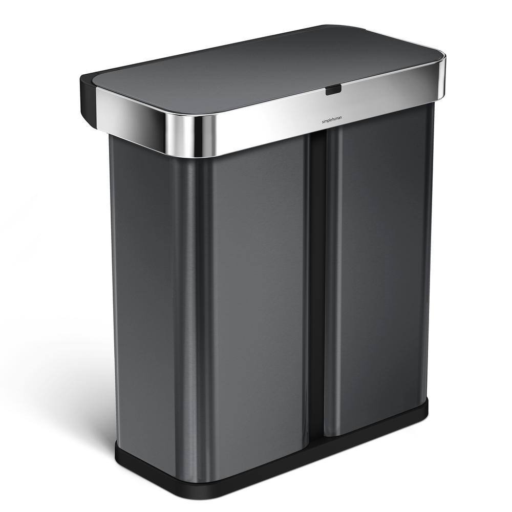 Rectangular Bin Simplehuman 15 3 Gal Black Stainless Steel Dual Compartment Rectangular Sensor Recycling Trash Can With Voice And Motion Control