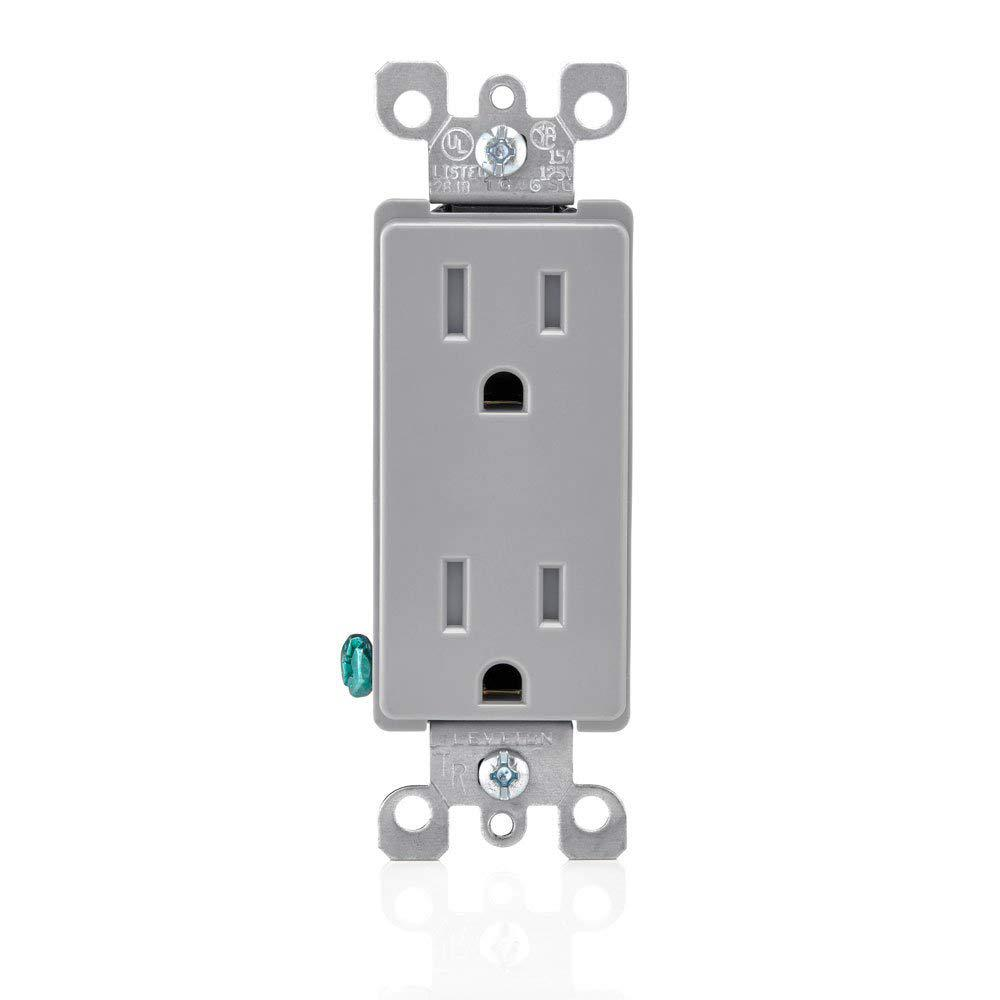 Contemporary Electrical Outlets Leviton Decora 15 Amp Residential Grade Tamper Resistant Self Grounding Duplex Outlet Gray
