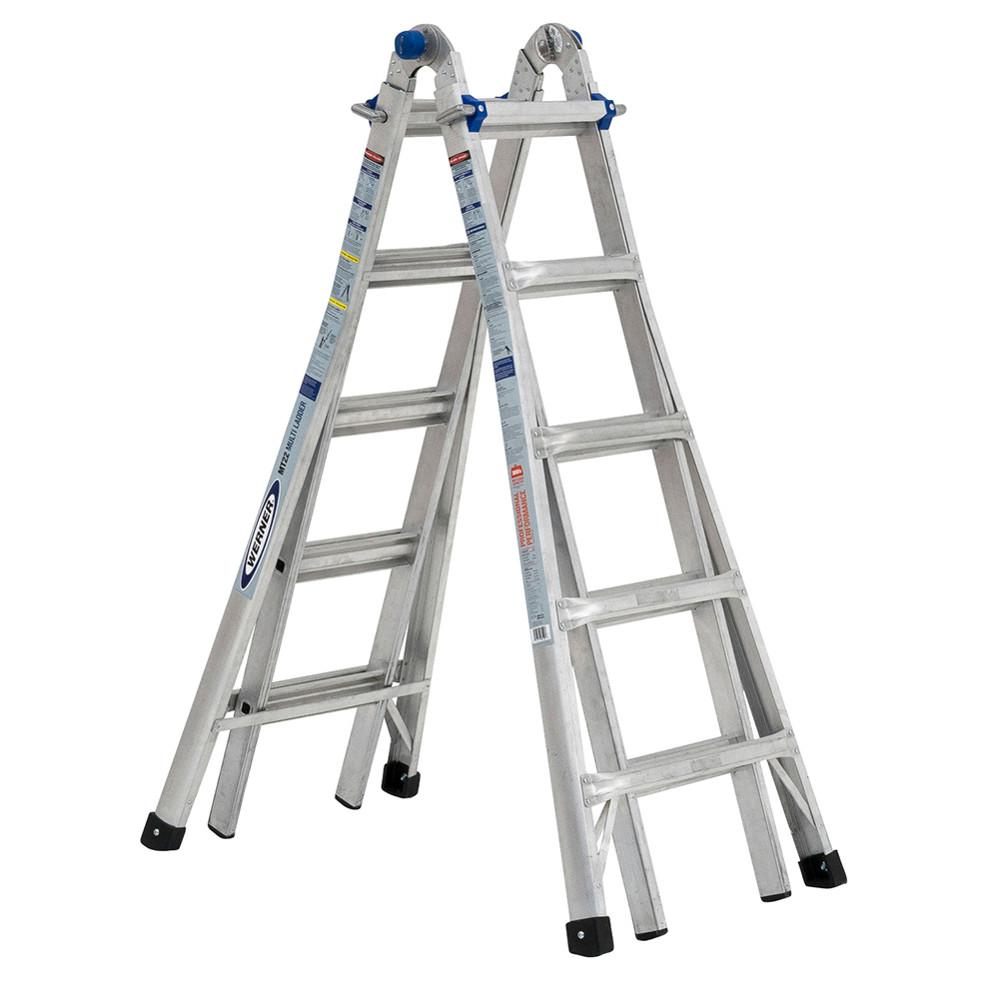 Werner Multiposition Ladder Multi Position Ft Aluminum Lb Werner 22 Ft. Reach 5-in-1 Telescoping Aluminum Multi