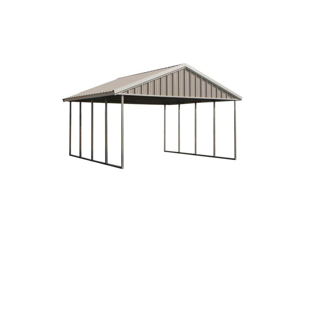 Carport Discount Pws Premium Canopy 16 Ft X 20 Ft Ash Grey And Polar White All Steel Carport Structure With Durable Galvanized Frame