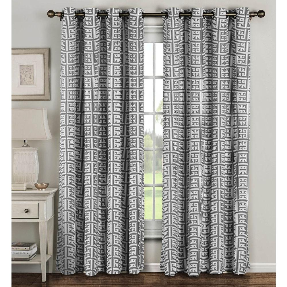 Cotton Curtain Panels Window Elements Semi Opaque Greek Key Cotton Blend Extra Wide 96 In L Grommet Curtain Panel Pair Grey Set Of 2