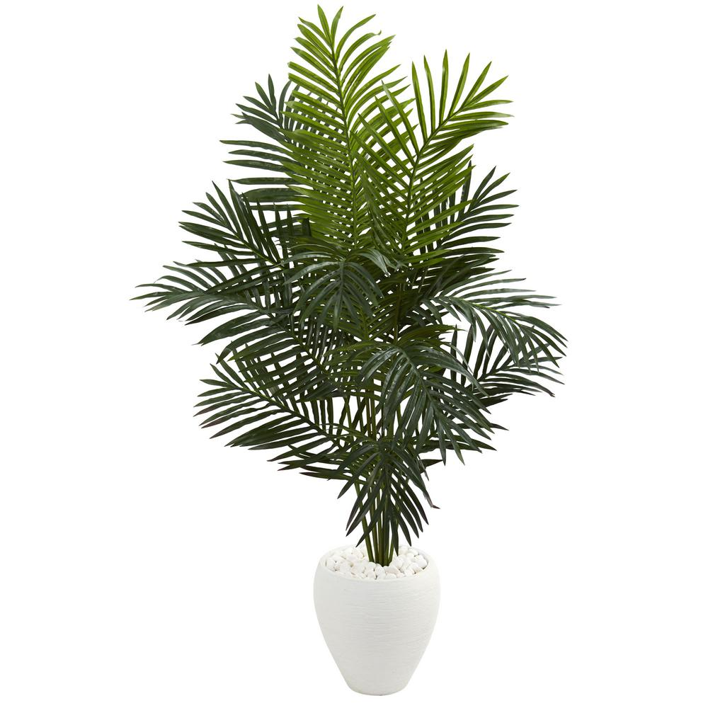 Home Depot Palm Trees Nearly Natural Indoor 5 5 Ft Paradise Artificial Palm Tree In White Planter
