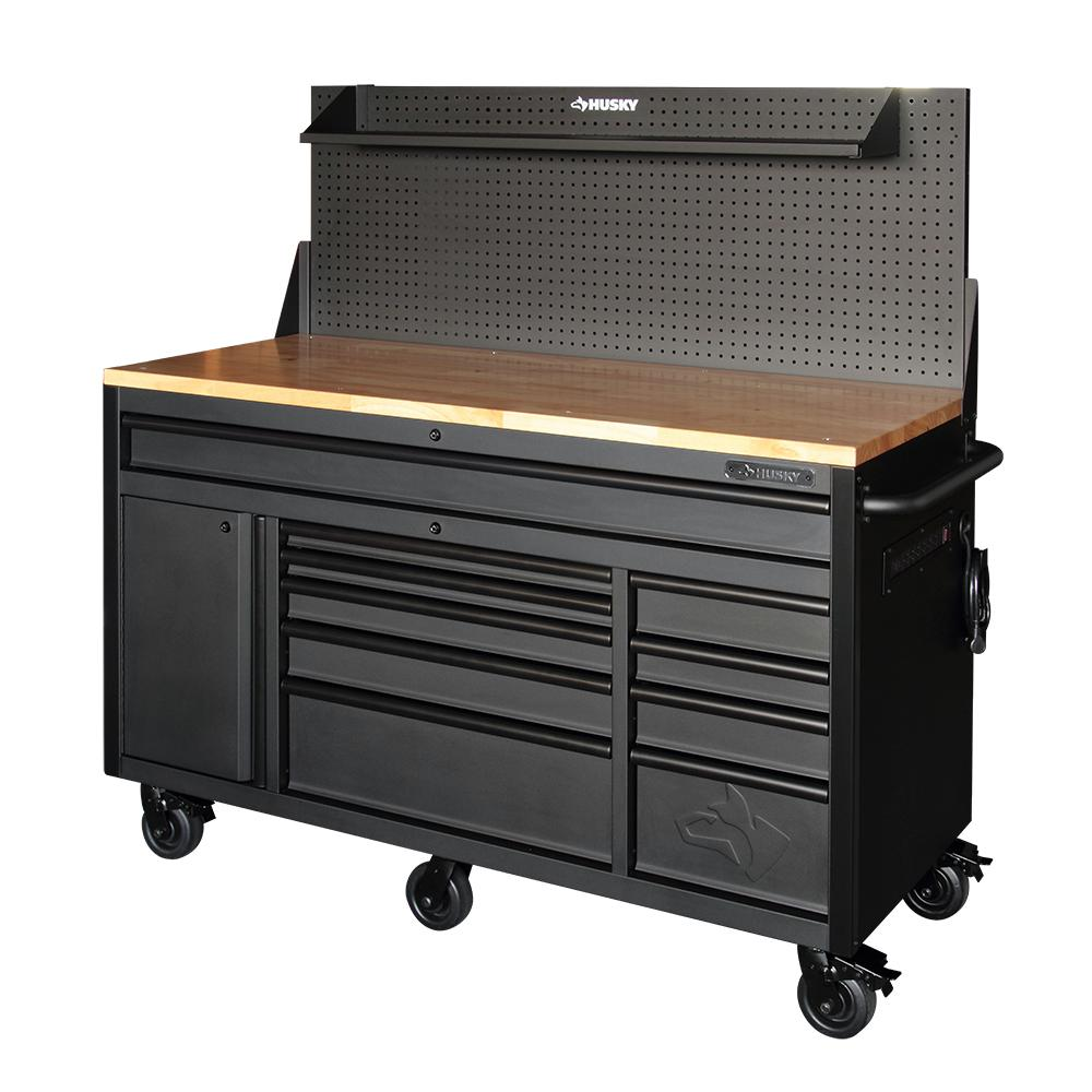 Maximum Heavy Duty Workbench Husky 61 In 10 Drawer 1 Door 24 In D Mobile Workbench With Pegboard And Shelf In Textured Black Matte