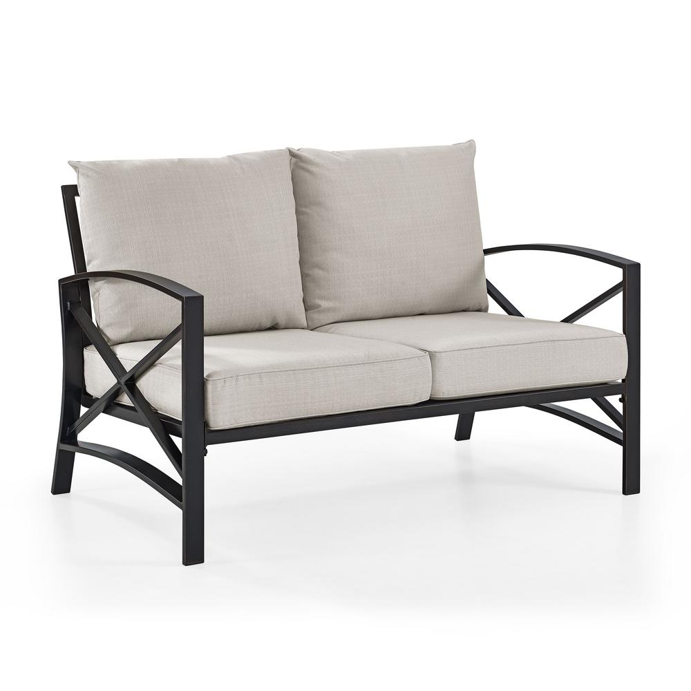 Bz Futon Kaplan Metal Outdoor Loveseat With Universal Oatmeal Cushion Cover