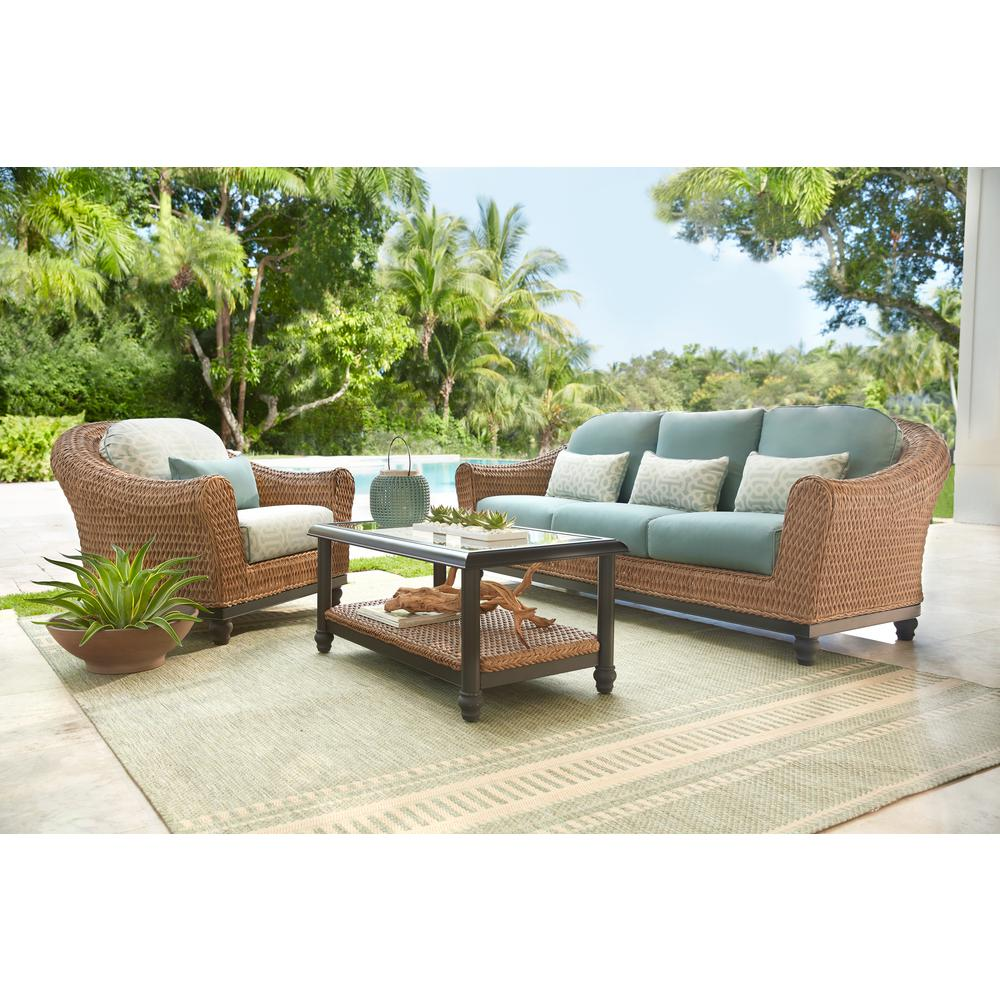 Outdoor Couch Home Decorators Collection Camden Light Brown Wicker Outdoor Sofa With Sunbrella Canvas Spa Cushions