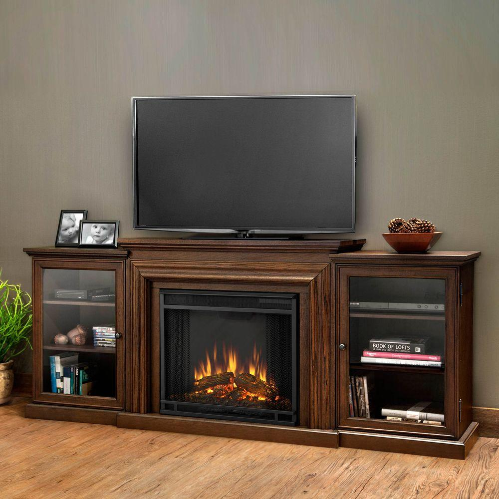 Fireplace Tv Stand Home Depot Real Flame Frederick Entertainment 72 In Media Console Electric Fireplace Tv Stand In Chestnut Oak