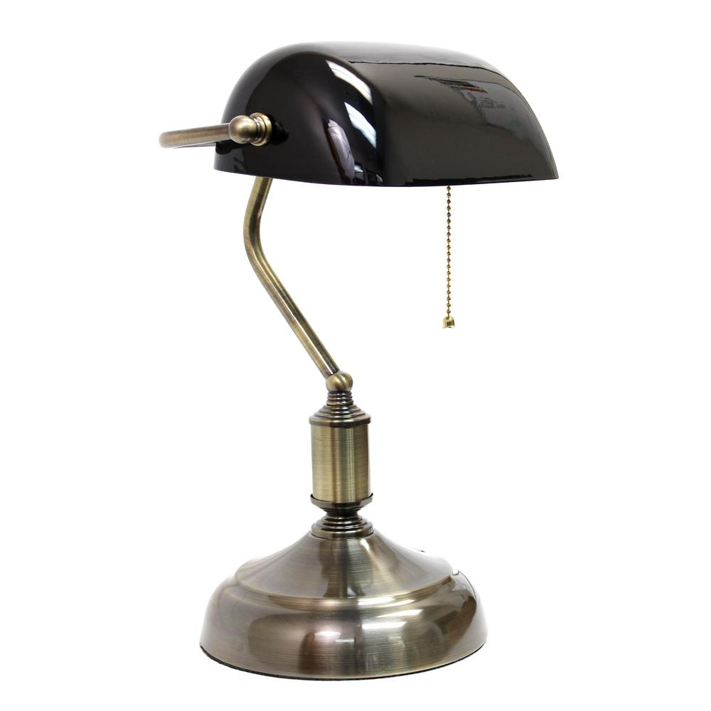 Desk Lamp Simple Designs 14 75 In Executive Banker S Desk Lamp With Black Glass Shade
