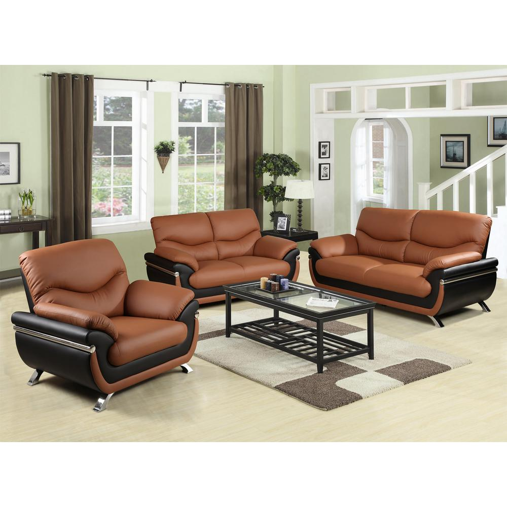 Leather Living Room Furnitures Two Tone Red And Black Leather Three Piece Sofa Set