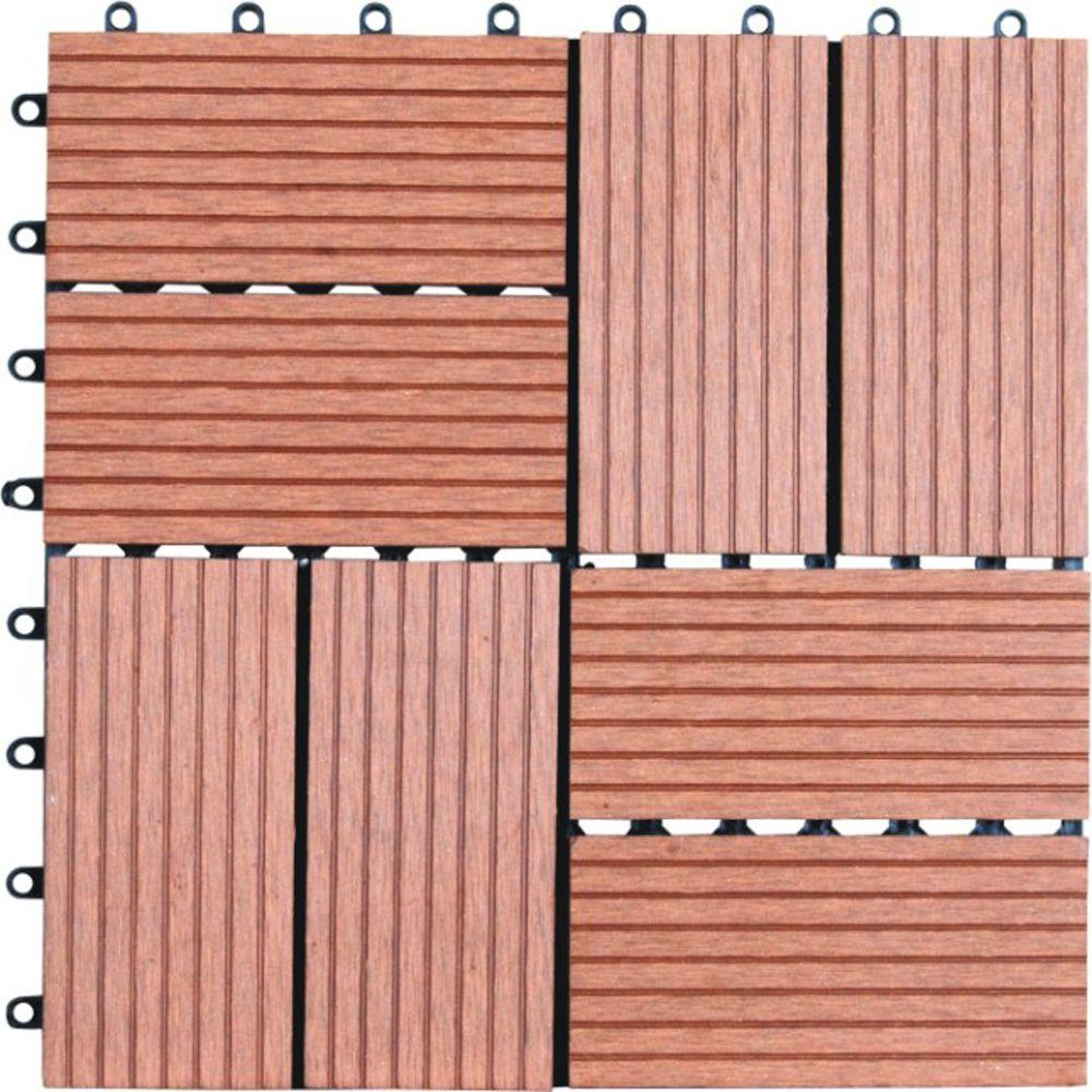 Interlocking Deck Tiles Naturesort 8 Slat 1 Ft X 1 Ft Composite Deck Tiles In Dark Tan 11 Per Case