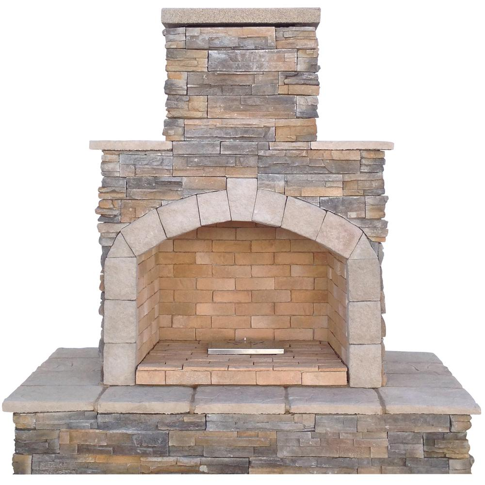 Fireplace Stone Cal Flame 78 In Brown Cultured Stone Propane Gas Outdoor Fireplace
