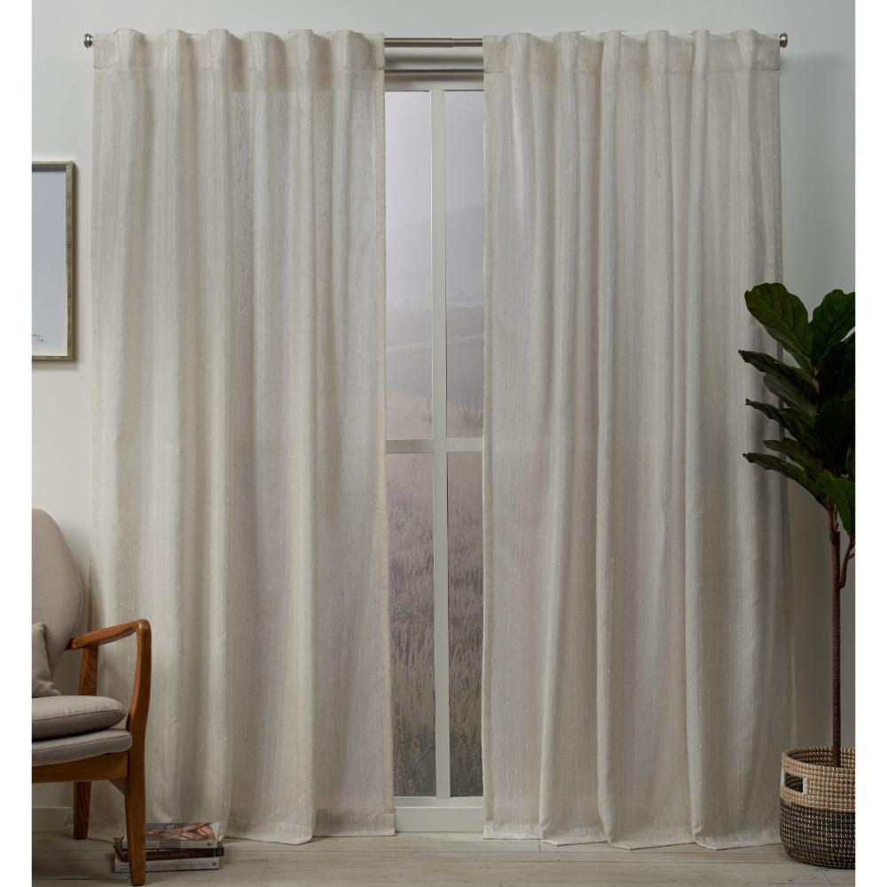 Tab Top Curtain Exclusive Home Curtains Muskoka 54 In W X 96 In L Embellished Hidden Tab Top Curtain Panel In Natural 2 Panels