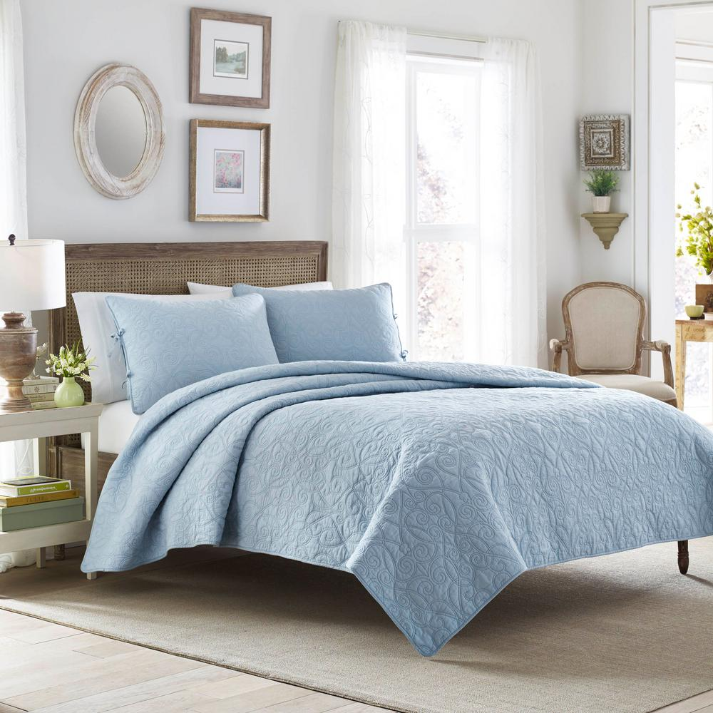 Quilt Sets Felicity Breeze 2 Piece Blue Twin Quilt Set