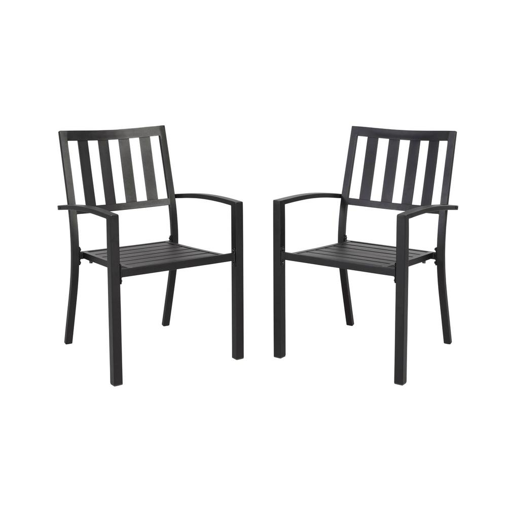Mix And Match Hampton Bay Mix And Match Black Stackable Metal Slat Outdoor Dining Chair 2 Pack