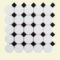 Jeffrey Court Retro Octagon Black Dot 11-1/2 in. x 11-1/2 ...