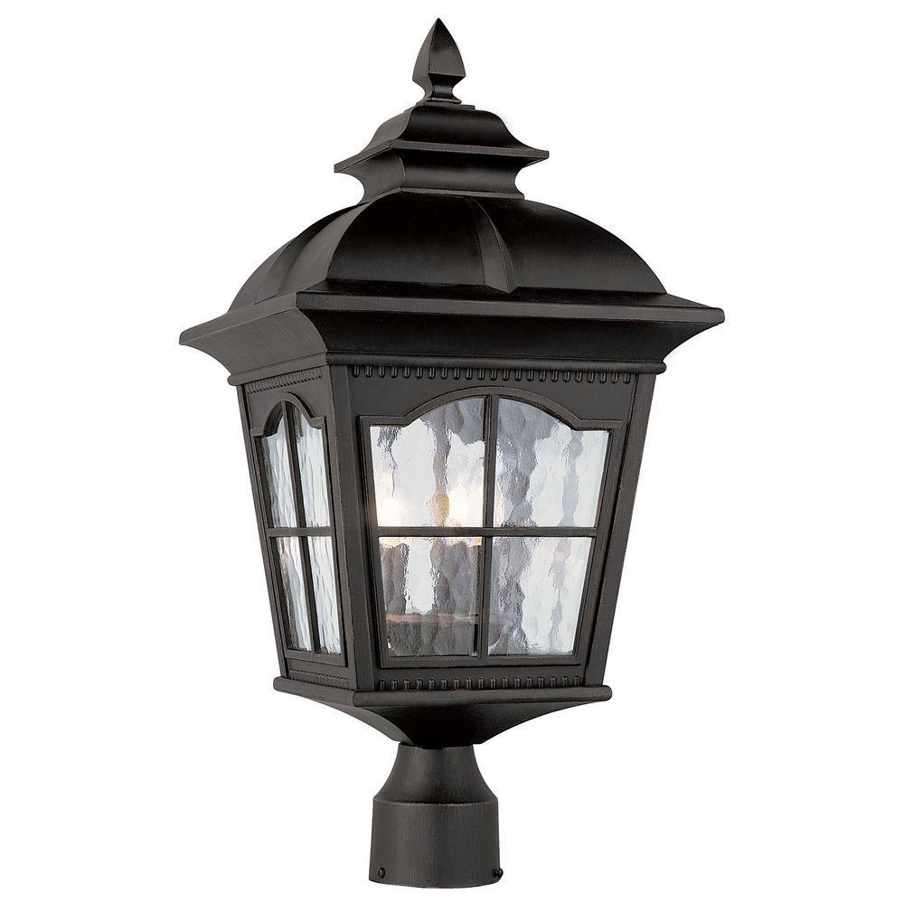 Home dear mr kourouma - Bel Air Lighting Bostonian 3 Light Outdoor Black Post Top Lantern With Water Glass 5422 Bk The Home Depot