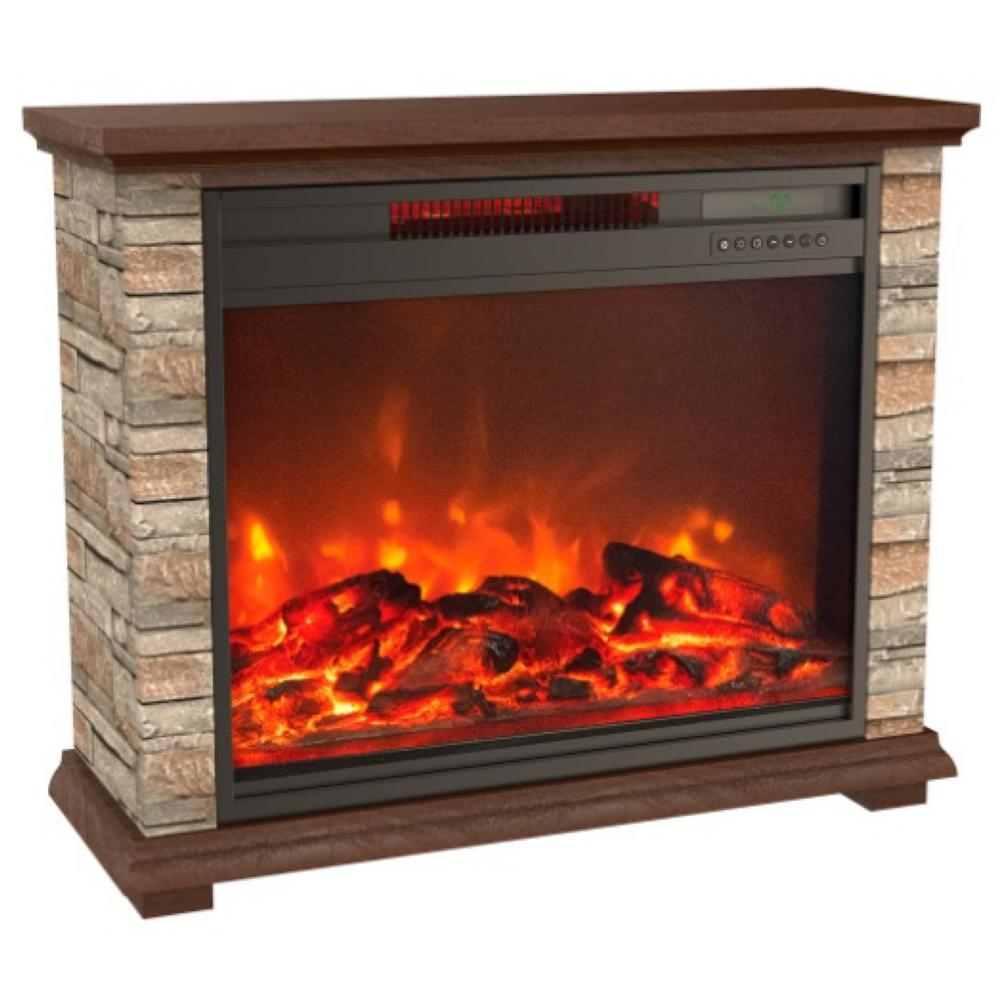 How To Operate A Fireplace Lifesmart Stone Series 31 In Freestanding Electric Fireplace With Remote Control In Off White Faux Stone And Walnut Mantel