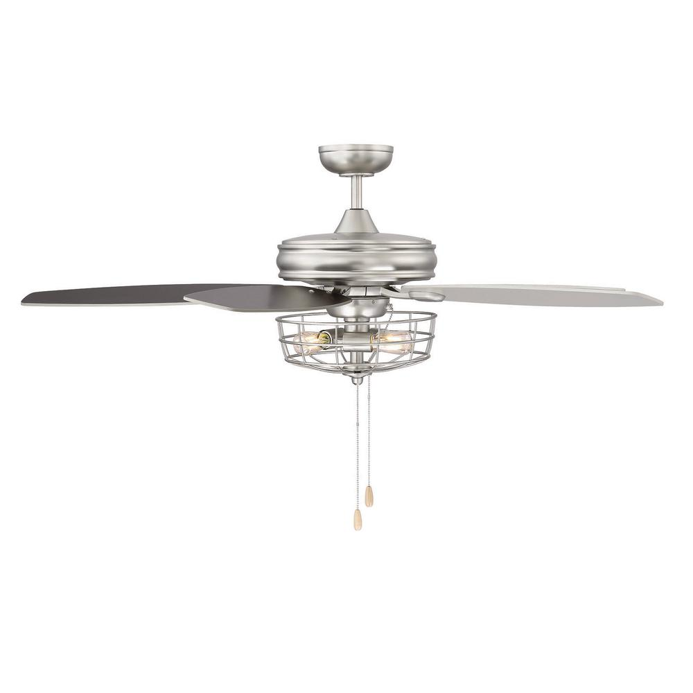 Industrial Style Ceiling Fans Filament Design 52 In Brushed Nickel Ceiling Fan With Metal Wire Cage