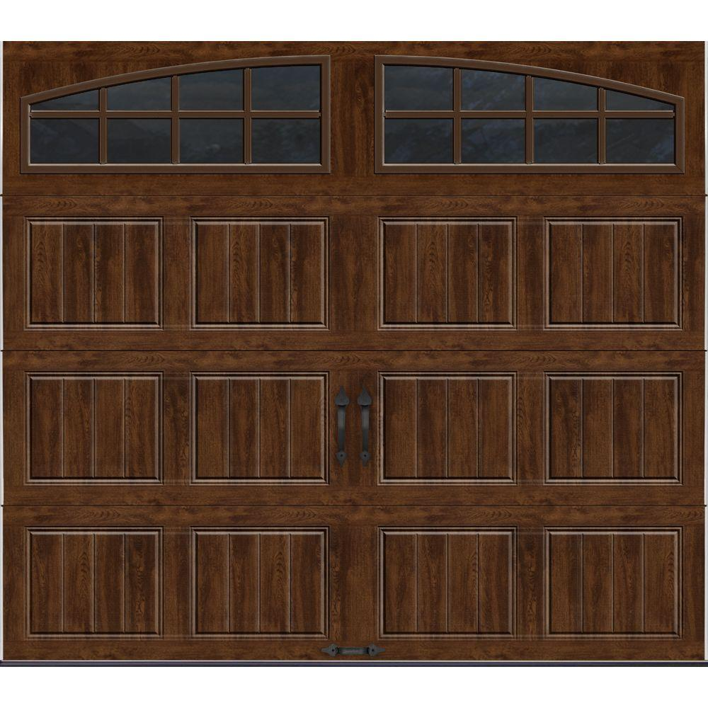 Porte De Garage 10 X 7 Clopay Gallery Collection 8 Ft X 7 Ft 18 4 R Value Intellicore Insulated Ultra Grain Walnut Garage Door With Arch Window