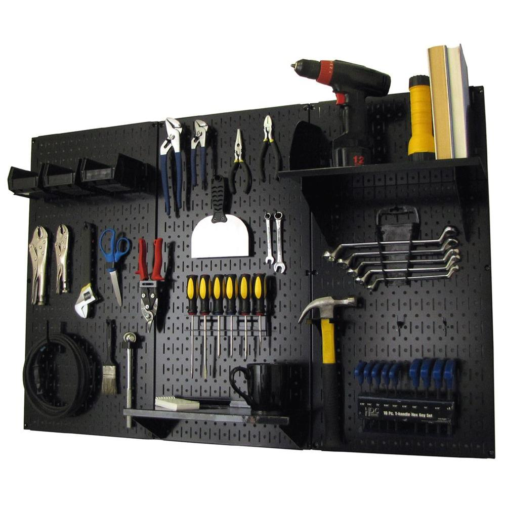 Peg Board Canada 32 In X 48 In Metal Pegboard Standard Tool Storage Kit With Black Pegboard And Black Peg Accessories