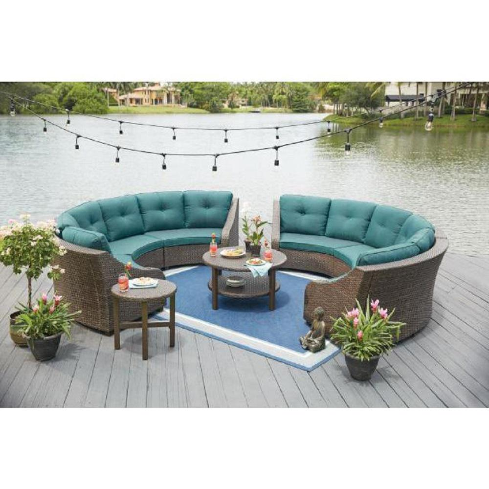 399 Furniture Store Hampton Bay Torquay Wicker Outdoor Sofa With Charleston Cushions