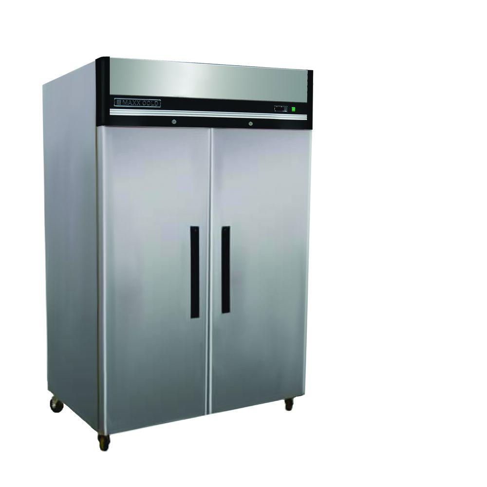 Small Stand Up Freezer Maxx Cold X Series 49 Cu Ft Double Door Commercial Reach In Upright Freezer In Stainless Steel
