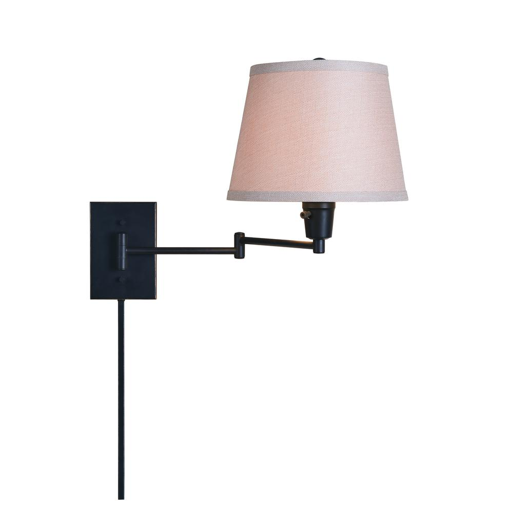 Arm Lamp Hampton Bay 1 Light Oil Rubbed Bronze Swing Arm Plug In Wall Lamp With Fabric Shade