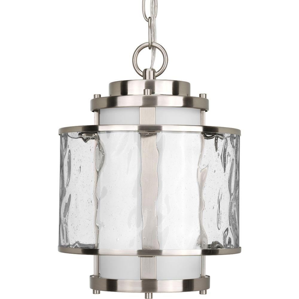 Outdoor Hanging Lamps Details About Outdoor Hanging Lantern Light Clear Glass Cylinders Shade Brushed Nickel Finish