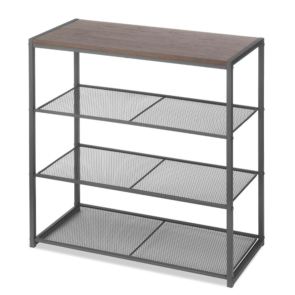 Mesh Shelving Whitmor 12 88 In X 25 88 In Wood And Metal 4 Tier Shelving Unit