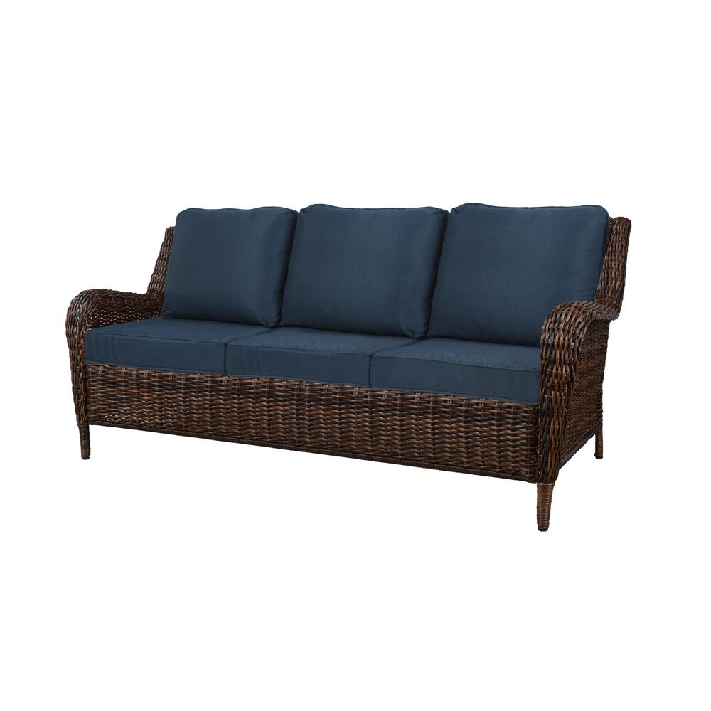 Sofas And Stuff Reviews Hampton Bay Cambridge Brown Wicker Outdoor Sofa With Blue Cushions