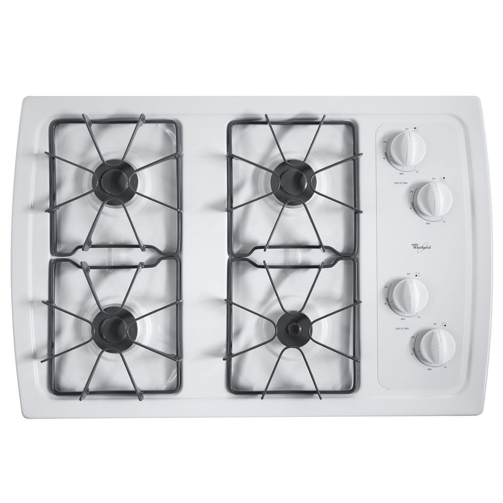 Whirlpool Countertop Stove Whirlpool 30 In Gas Cooktop In White With 4 Burners