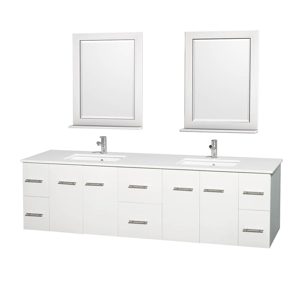 Wall Mount Double Vanity Wyndham Collection Centra 80 In Double Vanity In White With Solid Surface Vanity Top In White Square Sink And 24 In Mirror