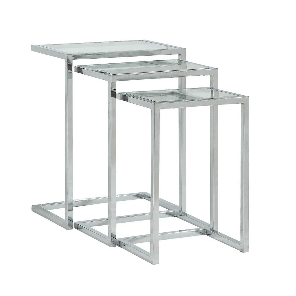 Glass Nesting Tables Carolina Cottage Addison Chrome Glass Top Nesting Table Set Of 3