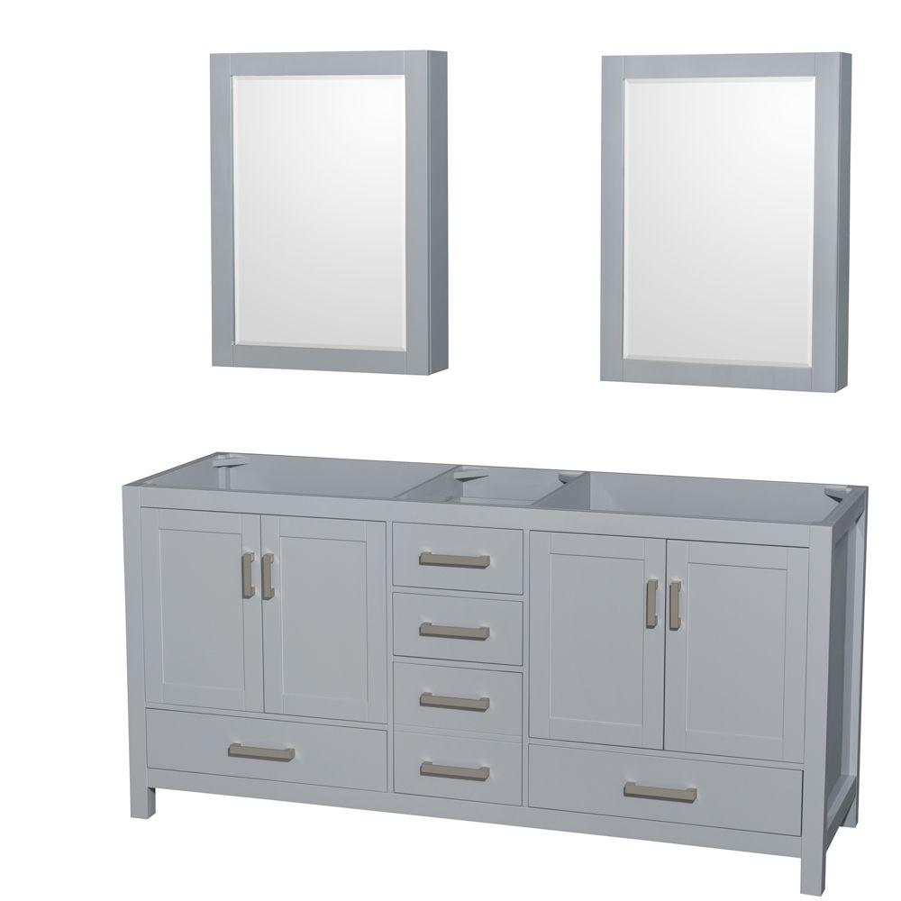 Medicine Cabinet Mirrors Wyndham Collection Sheffield 72 In Vanity Cabinet With Medicine Cabinet Mirrors In Gray