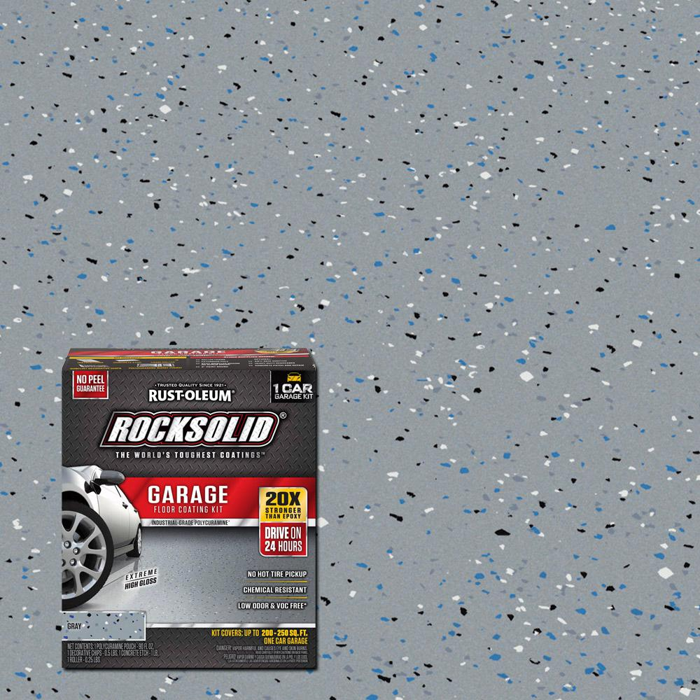 Floor Paint Home Depot Rust Oleum Rocksolid 76 Oz Gray Polycuramine 1 Car Garage Floor Kit 2 Pack