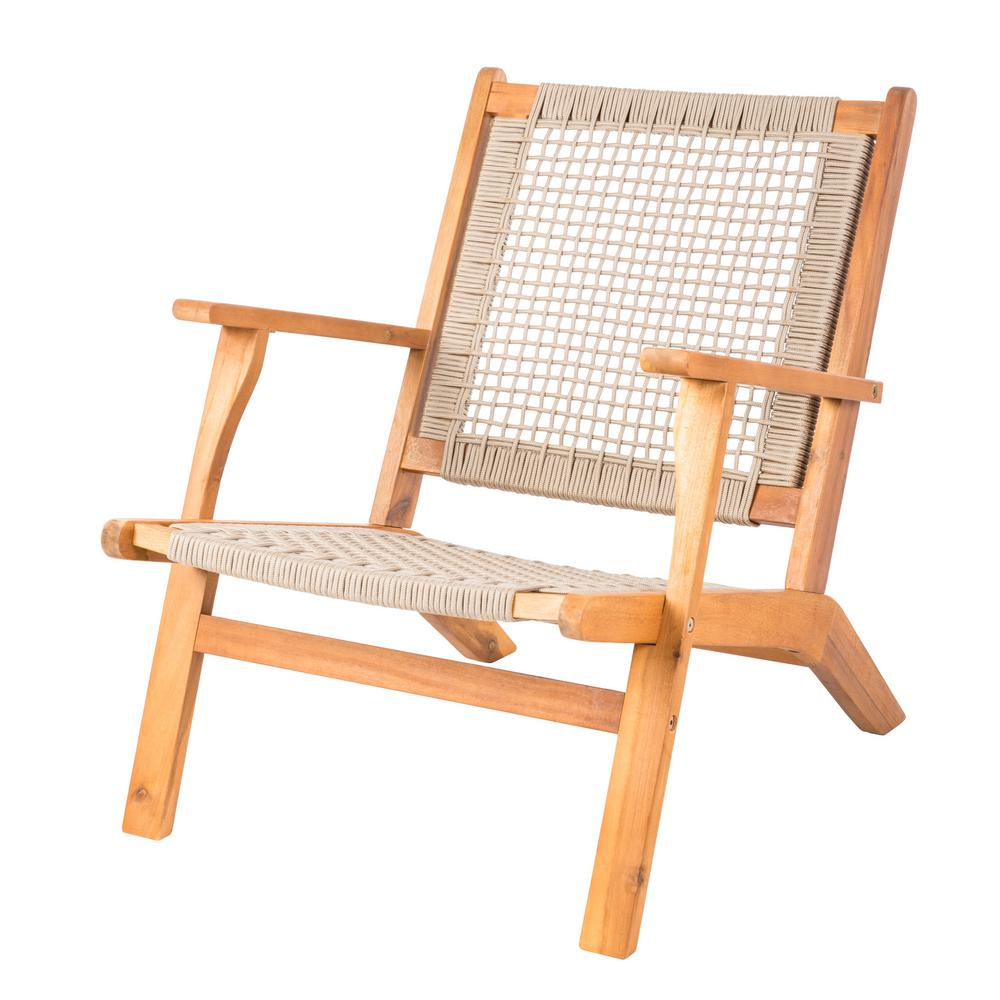 Lounge Chair Patio Sense Vega Natural Stain Wood Outdoor Lounge Chair In Beige Rope