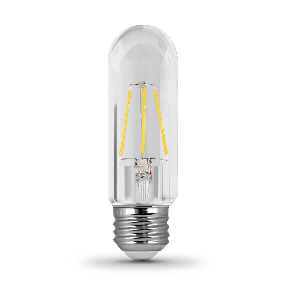 40 Watt Led Feit Electric 40 Watt Equivalent T10 Dimmable Filament Cec Title 20 Compliant Led 90 Cri Clear Glass Light Bulb Soft White