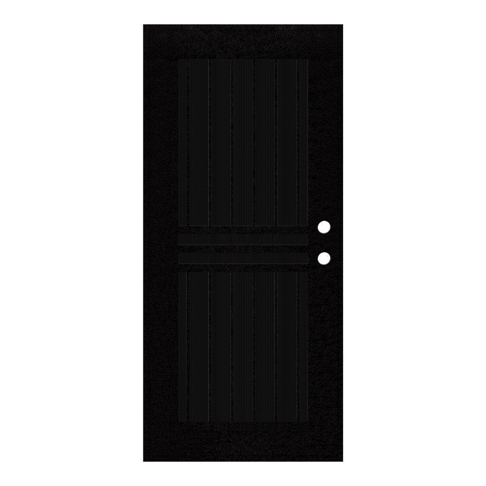 Door Security Bar Unique Home Designs 36 In X 80 In Plain Bar Black Left Hand Surface Mount Aluminum Security Door With Charcoal Insect Screen