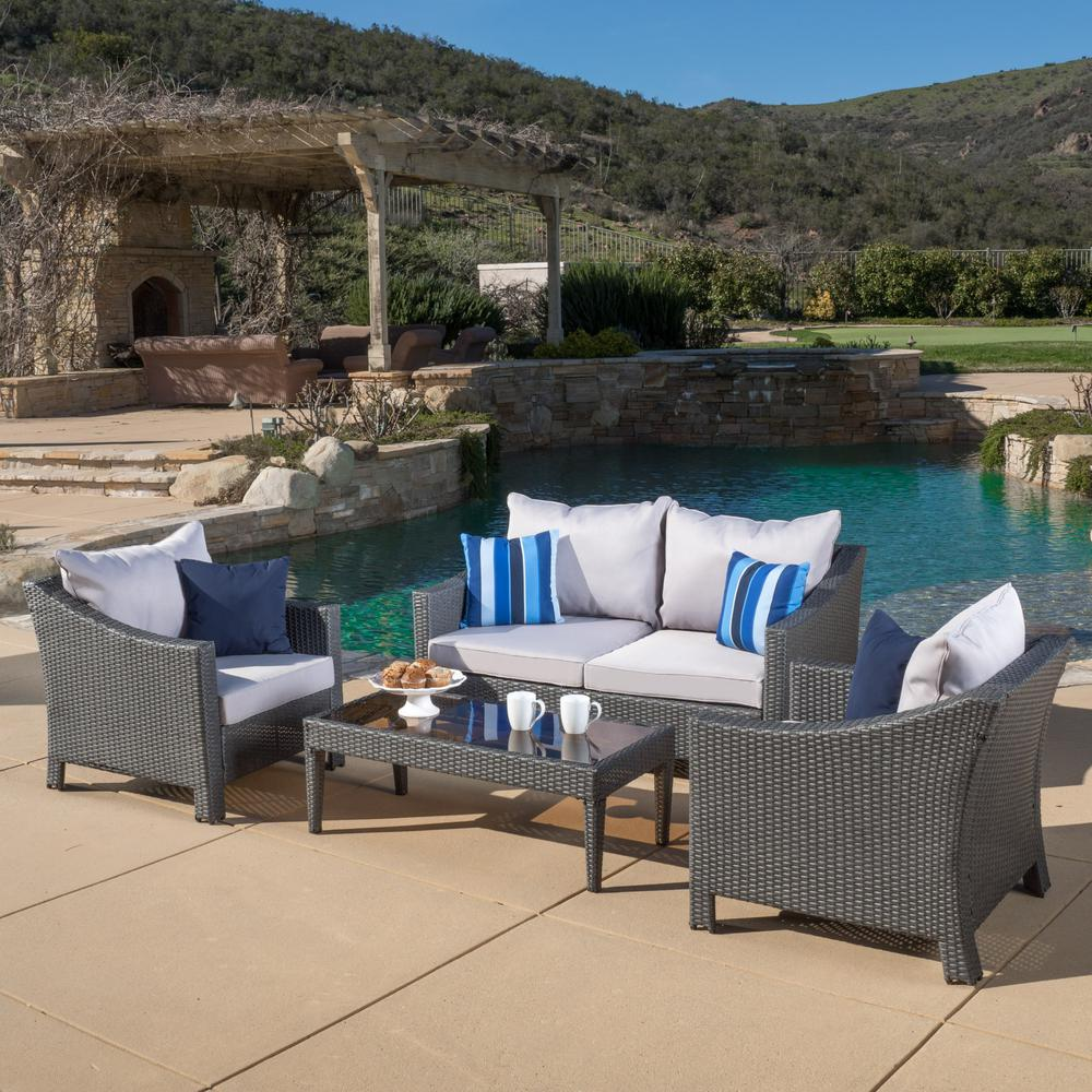 Baptist 6 Piece Rattan Sofa Set With Cushions Antibes Grey 4 Piece Wicker Patio Conversation Set With Silver Cushions