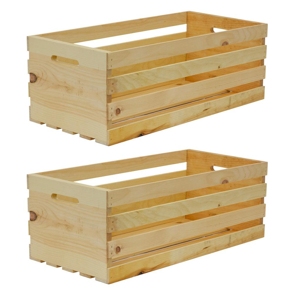 Crate And Pallet Nested Wood Crate Set In Weathered Gray