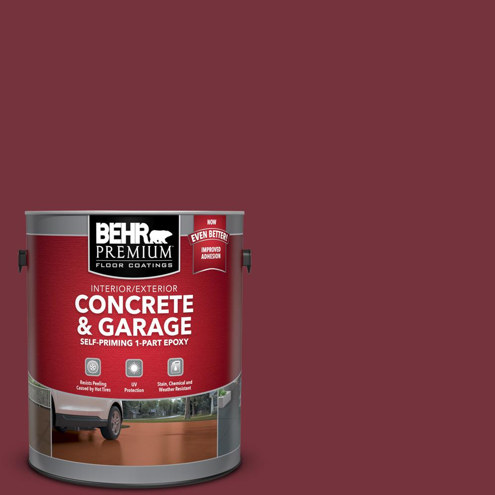 Garage Floor Tiles Or Paint Behr Premium 1 Gal Pfc 04 Tile Red Self Priming 1 Part Epoxy Interior Exterior Concrete And Garage Floor Paint