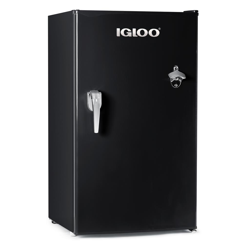 Fridge Freezer Igloo 3 2 Cu Ft Classic Mini Fridge Freezer With Chrome Handle And Bottle Opener Black