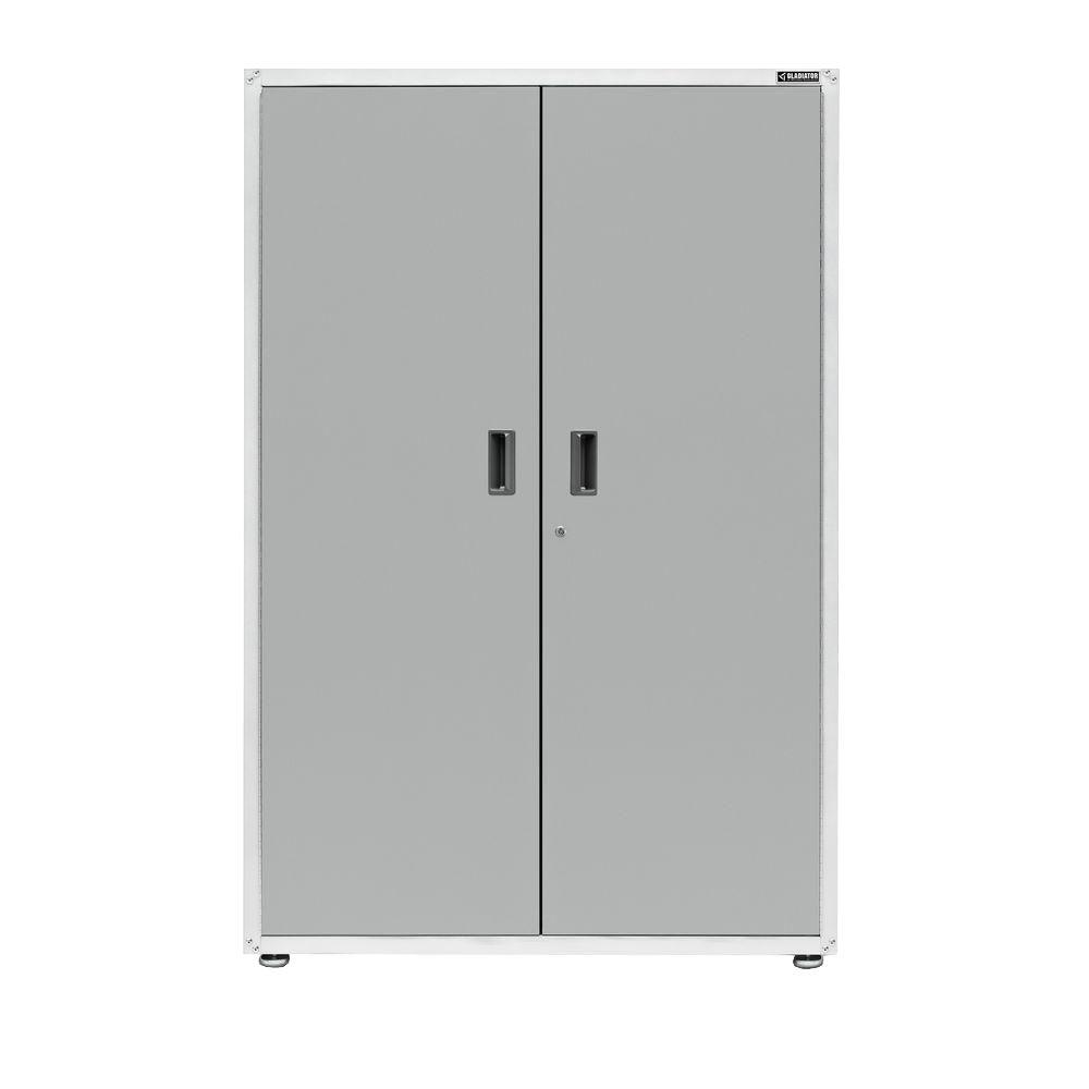 Garage Utility Cabinets Ready To Assemble 72 In H X 48 In W X 18 In D Steel Freestanding Garage Cabinet In White