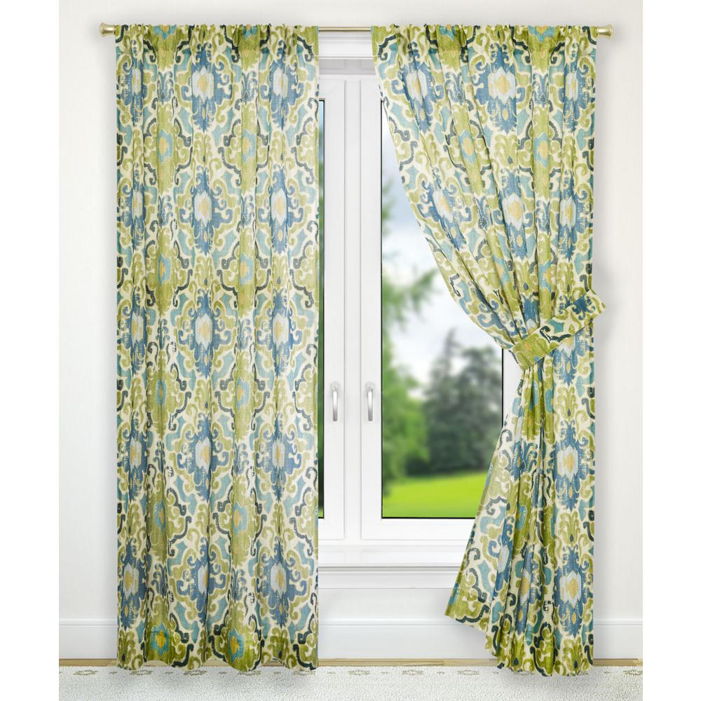 Draping Curtains Tuscany Blue Polyester Tailored Pair Curtains With Tiebacks 70 In W X 63 In L