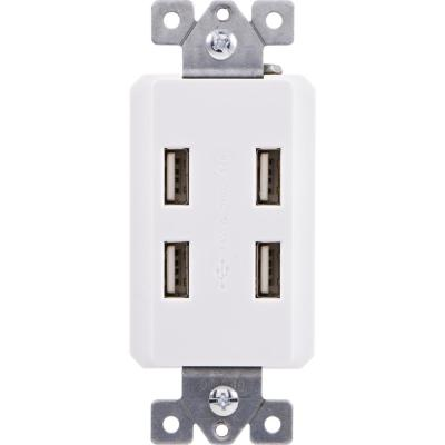 GE 6-Outlet Grounded In-Wall Adapter, White-54947 - The Home Depot