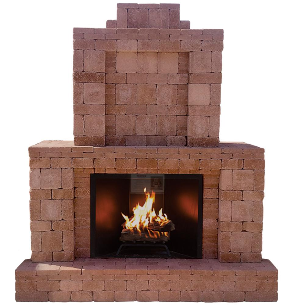 Fire Stones For Fireplace Pavestone Rumblestone 84 In X 38 5 In X 94 5 In Outdoor Stone Fireplace In Cafe