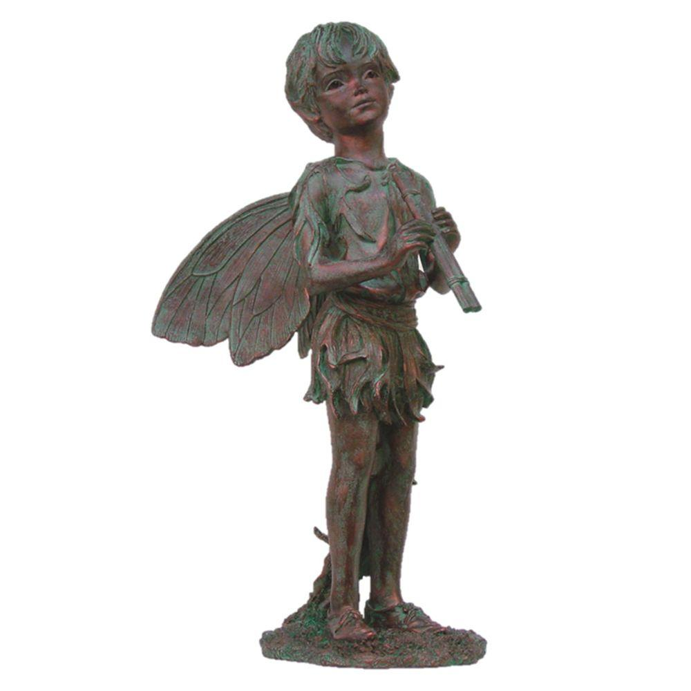 Faerie Statues Suffolk Fairies 24 In Fairy Peter Bronze Patina Collectible Garden Statue