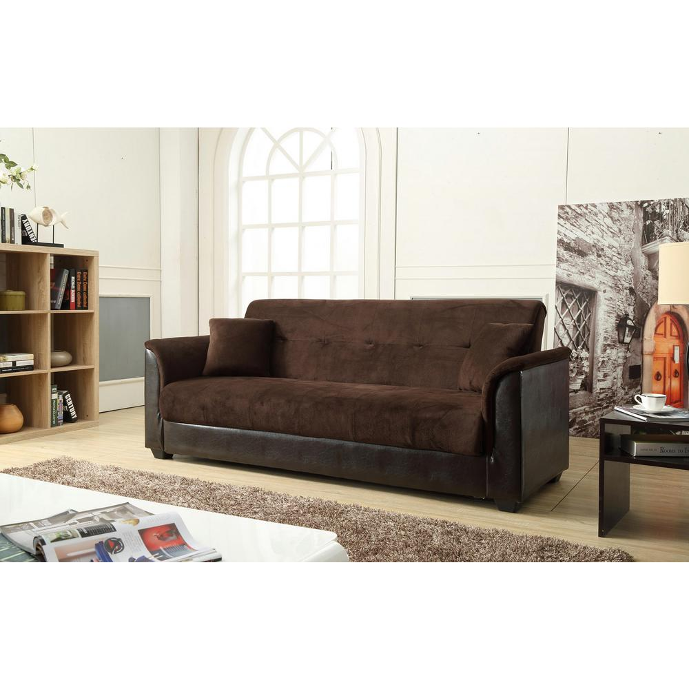 Futon Convertible 1 Place Champion Futon Chocolate Sofa Bed With Storage 72016 06ch The