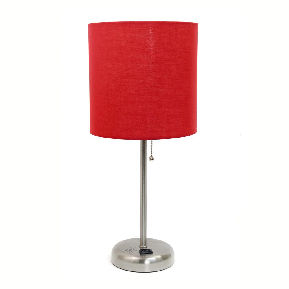 Lampe Rot Limelights 19.5 In. Stick Lamp With Charging Outlet And